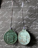 reproduction spanish coin verdigris and gunmetal long earrings