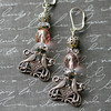 kissing bird filigree fine silver and vintage pink glass crystal beaded earrings