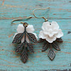 sakura cherry blossom and leaf drop earrings