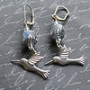 silver hummingbird charm and rainbow czech glass hand wire wrapped earrings