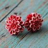 red chrysanthemum flower floral post stud earrings