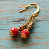 red czech glass picasso beads gold plated handmade beaded earrings