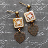 heart starburst geometric charm earrings