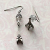 eiffel tower charm crystal and silver earrings