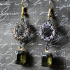 filigree and dark green vintage glass stone earrings by Renee Hong jewelryfineanddandy Hollywood glam style