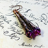 vintage purple beads long filigree copper cone earrings