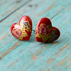 vintage red glass heart floral rose stud post earrings