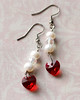pearl and crystal heart dangle earrings