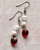 pearl and red crystal heart silver dangle earrings