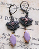 vintage lavender glass charm rustic french earrings