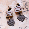 geometric starburst square Czech glass and hammered heart earrings