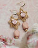 romantic filigree pink rose rhinestone earrings russian goldplate shabby