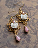 roses filigree pink and gold romantic handmade earrings