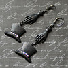 black top hat gloves rhinestone bling steam goth earrings