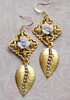 ceramic roses matte gold and russian goldplate rhinestone handmade earrings