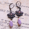 hollywood glam dangle purple and black earrings