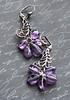 silver feather and amethyst gemstone handmade earrings