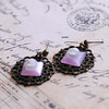 lavender cameo filigree handmade earrings