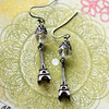 crystal and silver eiffel tower earrings