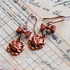 rose charm bow charm rosy copper handmade earrings