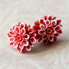 red floral flower chrysanthemum stud post earrings