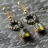 hollywood glam green and black earrings rustic antiqued filigree hoops vintage green glass stones jewelryfineanddandy