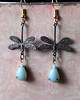 dragonfly charm and vintage teardrop blue stone earrings