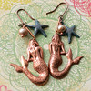 copper mermaid boho earrings handmade freshwater pearl starfish charm jewelry