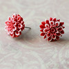 red and white chrysanthemum flower floral post stud earrings