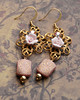 pink ceramic roses russian goldplate filigree pink gold etched beaded cottage chic shabby earrings