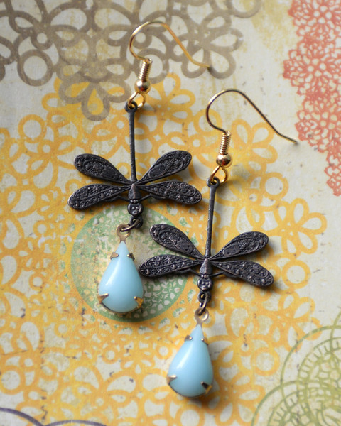 dragonfly earrings copper and vintage blue glass water droplets