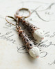 vintage bead and copper filigree cone wire wrapped earrings