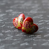 red glass heart rose earrings vintage Japanese glass post studs