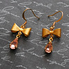 pink teardrop and gold bow bridal earrings