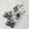 vintage pink glass beads and fine silverware plated bird filigree earrings