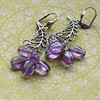 silver and amethyst february birthstone handmade gemstone earrings feather charm