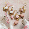 romantic cottage shabby chic earrings pink white gold roses rhinestones vintage style jewelry