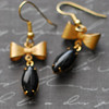 black and gold Hollywood glam earrings