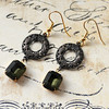 hollywood glam style black and green vintage glass and filigree earrings renee hong