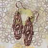 long copper filigree rose gold look earrings - Copy