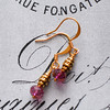 gold and pink beehive earrings
