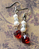 handmade red crystal heart freshwater pearl and crystal silver earrings