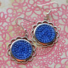 silver and blue bubble glass round geometric earring