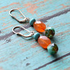 carnelian and picasso bead handmade gemstone and silver earrings
