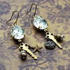hollywood glam vintage glass stones and pearl charm earrings