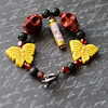 day of the dead skull butterfly lava crystal red yellow black beaded bracelet