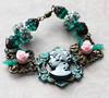 vintage cameo glass leaves pink roses verdigris patina filigree bracelet czech glass beads