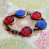 patriotic blue and red brass antiqued bracelet vintage bubble glass cabochons