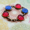 red and blue vintage bubble glass bracelet
