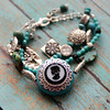 turquoise vintage glass cameo and silver charm bracelet czech glass beaded multistrand jewelry